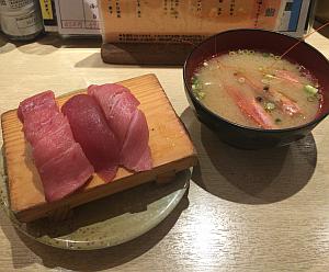 こだわり回転寿司「まぐろ人 吉祥寺店」の「まぐろ人盛り」と「おすすめ 5点盛」を合わせて寿司ランチ