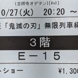 「吉祥寺 東急REIホテル」近く「吉祥寺オデヲン」で「劇場版 鬼滅の刃 無限列車編」をレイトショーで堪能