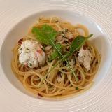 「蟹が得意な洋麺屋 PASTA」のゴロっと乗った蟹が嬉しい「たらばと丸ズワイのペペロンチーノ」で吉祥寺ランチ